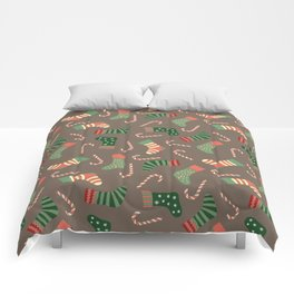 Modern pastel green coral Christmas socks candy Comforters