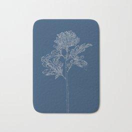 Chrysanthemum Blueprint Bath Mat