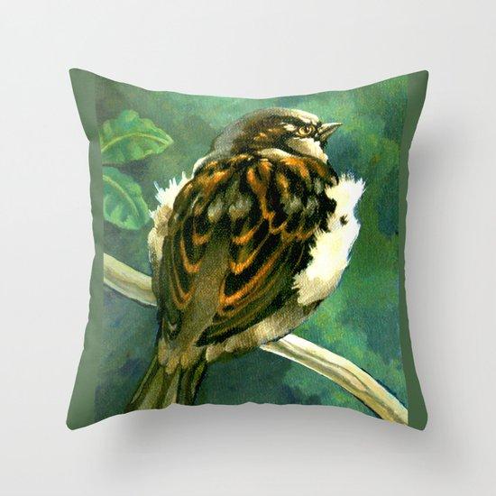 Sparrow in Puriri Tree Throw Pillow