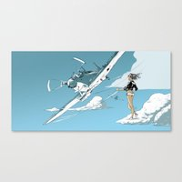 hiking Canvas Prints featuring Hitch-hiking by Mitt Roshin