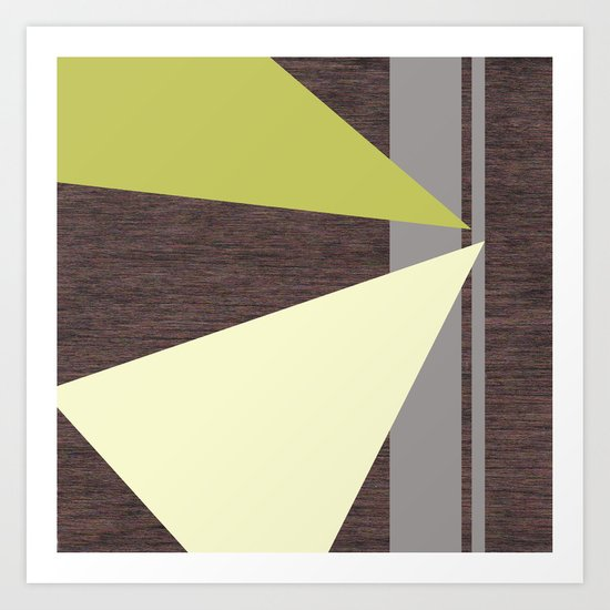 Espresso Wood with Gray, Lemon & Chartreuse Art Print