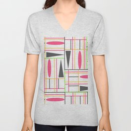 Modern abstract pink gray geometric shapes pattern Unisex V-Neck