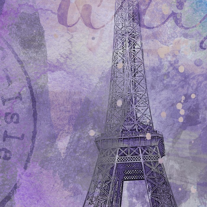 Purple Paris Watercolor Art Leggings