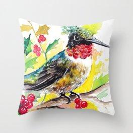 Christmas hummingbird 2 Throw Pillow