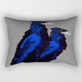 Two Blue  Crows Art Design on Grey Rectangular Pillow