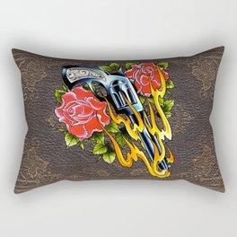 trad pistol w roses Rectangular Pillow