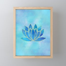 Blue Watercolor Lotus Flower Art Framed Mini Art Print