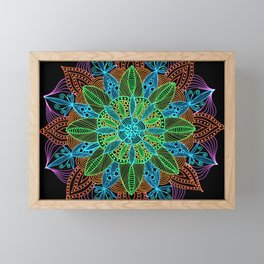 Neon Mandala Framed Mini Art Print