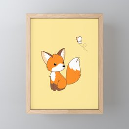 Cute Little Fox Watching Butterly Framed Mini Art Print