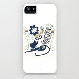 Cat in Flowers, Folk Art Illustration iPhone Case