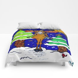 """""""Henry The Holiday Moose"""" Comforters"""