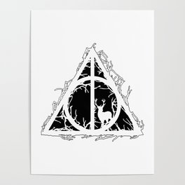 Deathly Hallows - brenches and stag - voids and silhouette (black) - Expecto Patronum | potterheads Poster