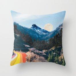 1960's Style Mountain Collage Throw Pillow
