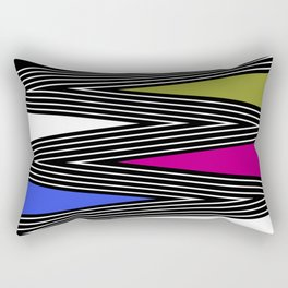 Abstract black and white Zigzag pattern of Multicolored triangles . 1 . Rectangular Pillow