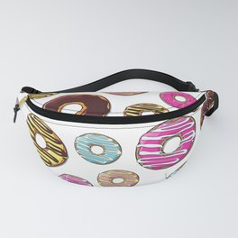 Donut Pattern, Colorful Donuts - Pink Blue Yellow Fanny Pack