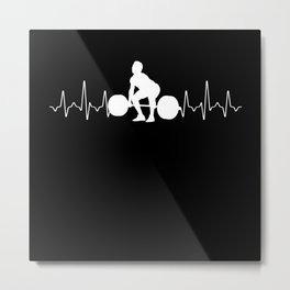 Bodybuilder Heartbeat Metal Print