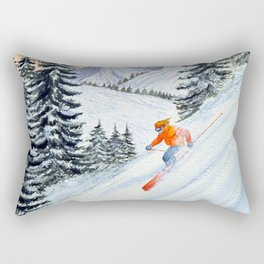 Skiing - The Clear Lady Leader Rectangular Pillow