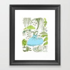 Reading in the Garden Framed Art Print