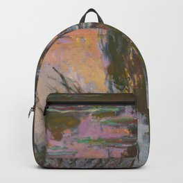 Water Lilies - Setting Sun by Claude Monet Backpack