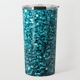 Beautiful Aqua blue glitter sparkles Travel Mug