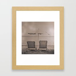 The loneliness of the deck chairs - La soledad de las tumbonas Framed Art Print