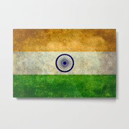 Flag of India - Grungy Vintage Metal Print