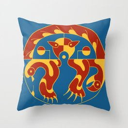 Native American Cat bird snake bright colors Throw Pillow