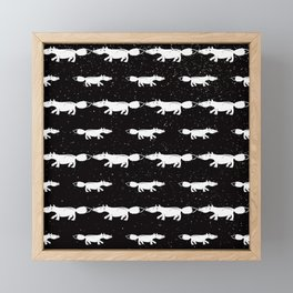 Fox Winter Pattern - White on Black - Mix & Match with Simplicity of life Framed Mini Art Print