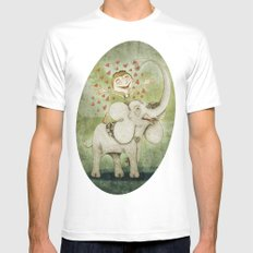 Elephant White MEDIUM Mens Fitted Tee