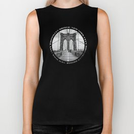 Brooklyn Bridge New York City (black & white with text) Biker Tank