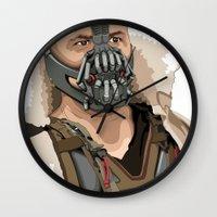 bane Wall Clocks featuring Bane by Thomas Moore