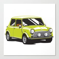 Mini Cooper Car - Chartreuse Canvas Print