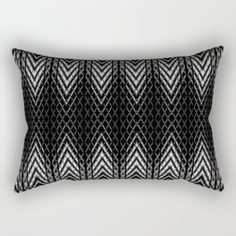 Op-Art Black and White Tribal Arrowhead Pattern Rectangular Pillow