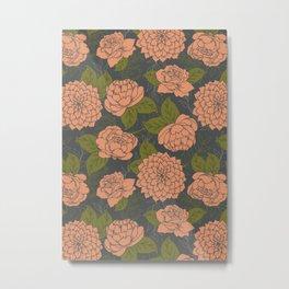 Floral Pattern in Coral - Green - Grey Metal Print