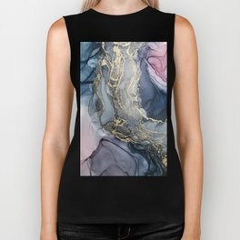 Blush, Payne's Gray and Gold Metallic Abstract Biker Tank