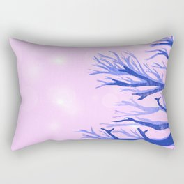 Blue ghost trees on pink speckled sky Rectangular Pillow