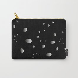 Monochrome drops and petals on a gray background in nacre. Carry-All Pouch