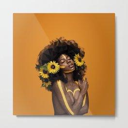 Sunflower Woman Metal Print