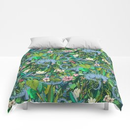 Improbable Botanical with Dinosaurs - dark green Comforters