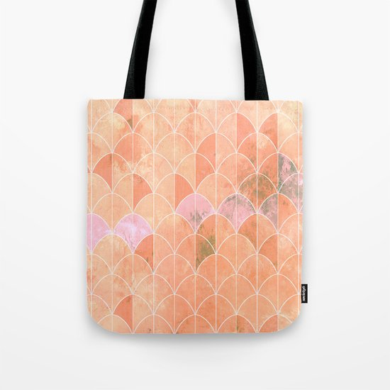 Mermaid scales. Peach and pink watercolors. Tote Bag