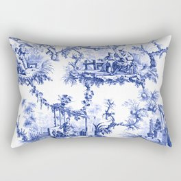 Blue Chinoiserie Toile Rectangular Pillow