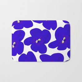 Blue Retro Flowers #decor #society6 #buyart Bath Mat