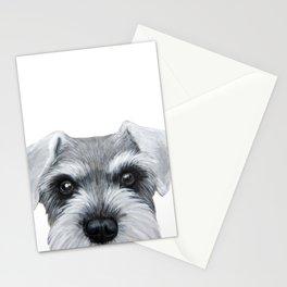 Schnauzer Grey&white, Dog illustration original painting print Stationery Cards