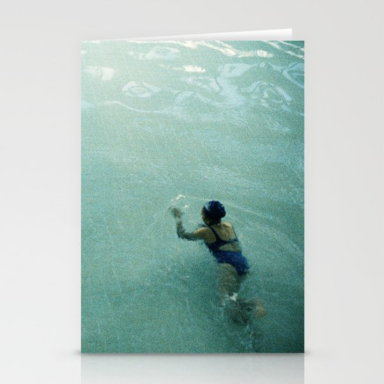 Lady in Swimming Pool 2 Stationery Cards