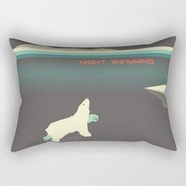 Polar bear nigh swimming Rectangular Pillow