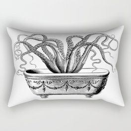 Tentacles in the Tub | Octopus | Black and White Rectangular Pillow