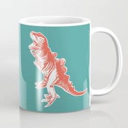 Dino Pop Art - T-Rex - Teal & Dark Orange Coffee Mug