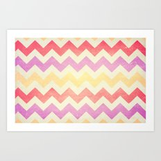 Crazy for Chevron - Vintage Pink Art Print
