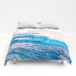 Abstract hand painted pink blue watercolor brushstrokes Comforters