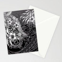Slate Polynesian Tribal Threads Grunge Stationery Cards